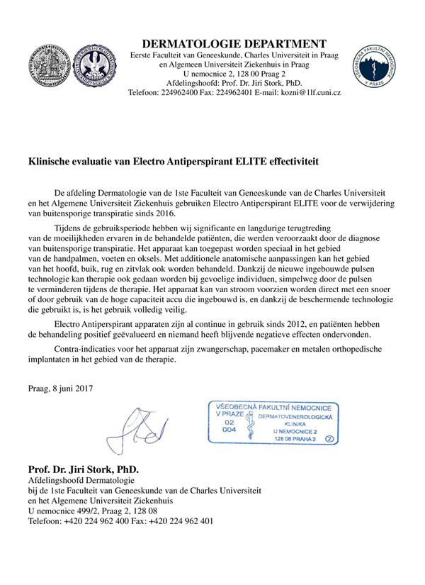 Klinische evaluatie van Electro Antiperspirant ELITE effectiviteit